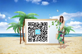 海滩美女二维码样式